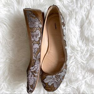 Jcrew collection lace zip back ballet flat leather